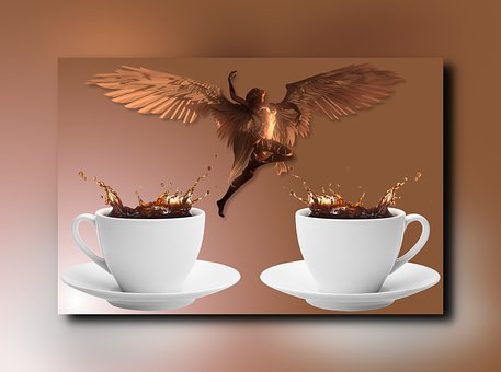 Angel, Wings, Cups, Mugs, Coffee, Composition, Frame
