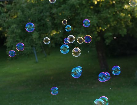 Bubbles, Soap Bubbles, Garden, Trees, Ball, Float