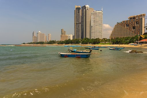Boats, Beach, Sea, Buildings, Water, Hotels