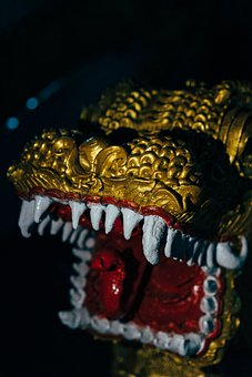 Dragon, Teeth, Head, Shape, Religion, Gold, Bite