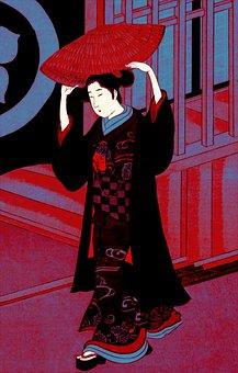 Woman, Geisha, Kimono, Traditional, Japan, Japanese