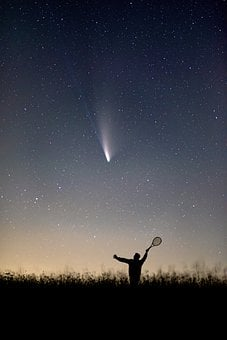 Silhouette, Man, Racquet, Stars, Sky, Neowise, Comet