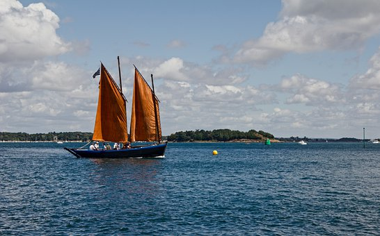 Boat, Sinagot, Sailing Orange, Old Rig, Sailboat, Ocean