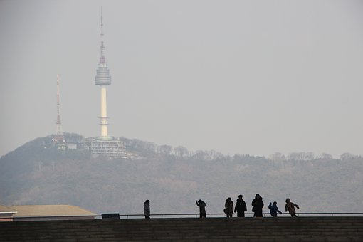 Silhouette, People, Building, Steps, Tower, Sightseeing
