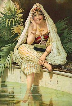 Woman, Pool, Princess, Harem, Girl, Happy, Smiling