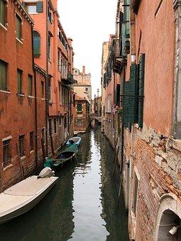 Venice, Canal, Gondola, Boat, Buildings, Houses