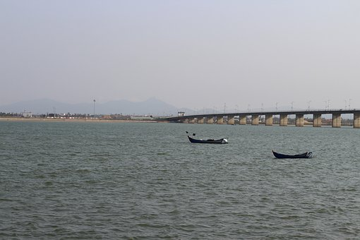 Sea, Boats, Bridge, Waves, Coastline, Vietnam, Asia