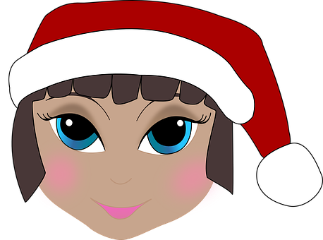 Anime, Cartoon, Girl, Head, Face, Christmas, Elf
