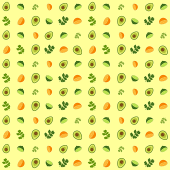 Guacamole, Pattern, Avocado, Orange, Lime, Cilantro