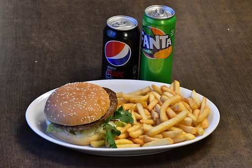 Hamburger, Chips, Drink, Food, Burger, Lunch, Fries