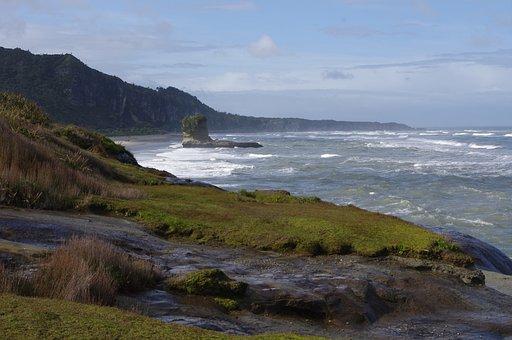 Cliff, Sea, Waves, Landscape, Nature, New Zealand