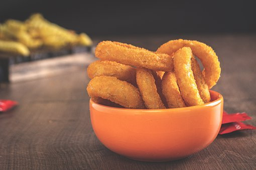 Crunchy, Fried, Onion Rings, American, Bowl, Brown