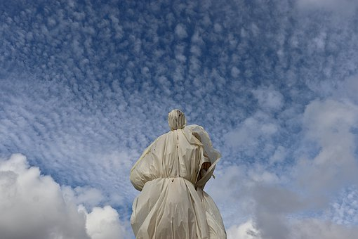Statue, Sculpture, Wrapped, Plastic, Protection, Clouds