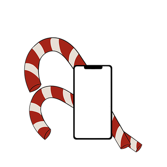 Smartphone, Iphone, Candy Cane, Frame, Mobile Phone