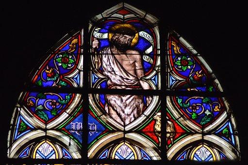 Stained Glass, Window, Church, Jean Baptist, Saint