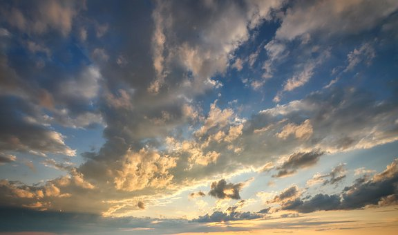 Sky, Clouds, Weather, Evening, Sunset, Background