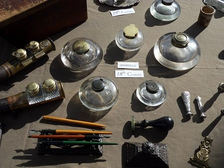 Ink Well, Quills, Writing Equipment, Quill Pen, Antique