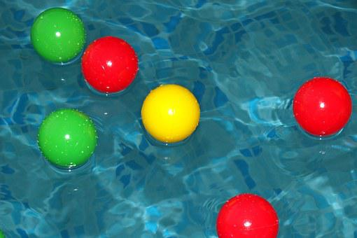 Pool, Swimming, Balls, Colorful, Floating, Water, Blue