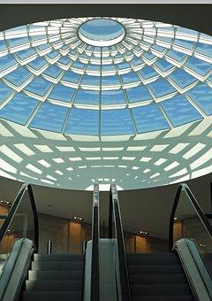 Dome Light, Mall, Shopping Centre, Escalators