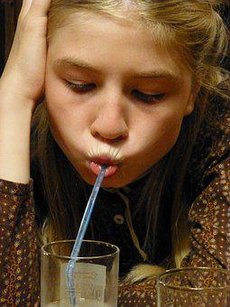 Girl, Drink, Straw, Mouth, Suck, Face, Milkshake
