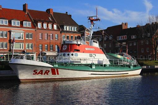 Fire Ship, Port, Emden, City, Lifeboat, Idyllic