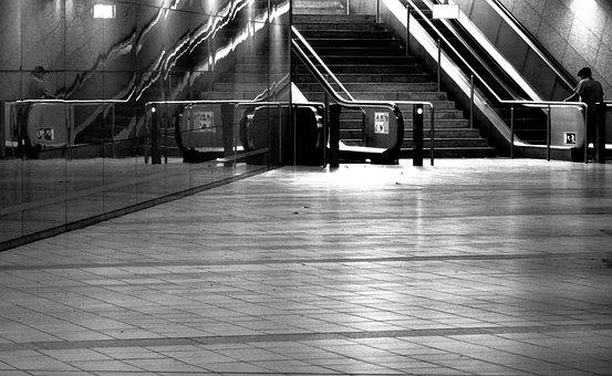 Metro Station, Escalator, Trainstation, Mirroring