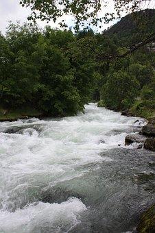 Waterfall, Geiranger, Geirangerfjord, Norway, Landscape