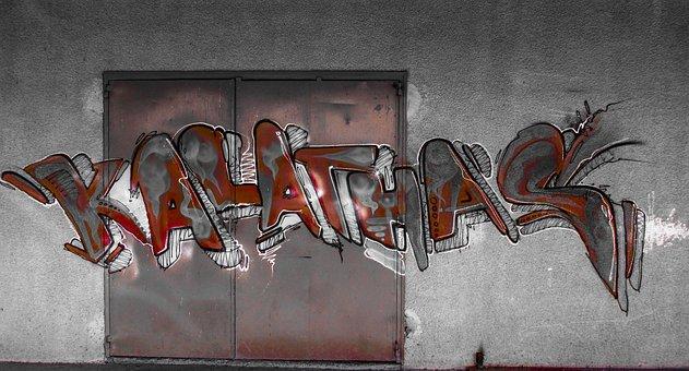 Graffiti, Colorful, Door, Metallic, Garage, Wall