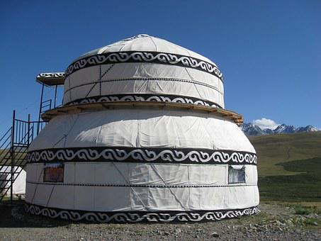Kyrgyzstan, Yurt, Mountain, Steppe