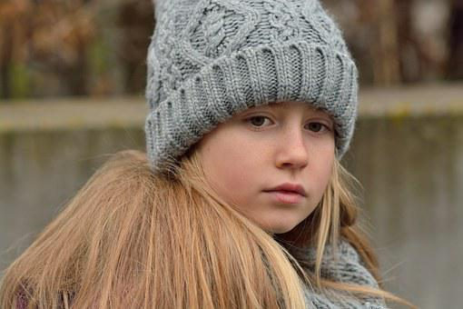 Child, Girl, Long Hair, Blond, Cap, Sad, Thoughtful