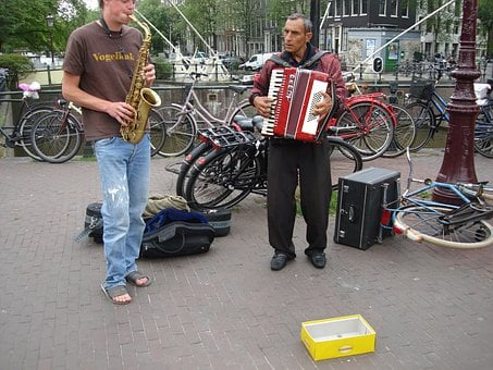 Musicians, Street Musicians, Accordion, Saxophone