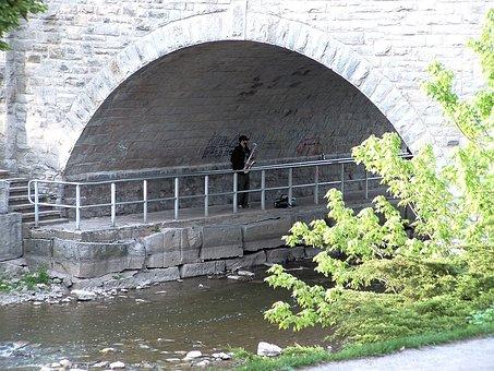 Under A Bridge, River, Saxophone, Music, Nature