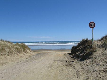 Ninety Miles Beach, Beach, Sand, New Zealand, Ocean