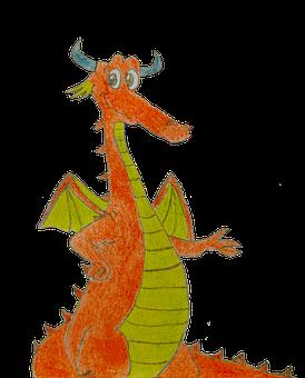 Dragon, Draw, Drawing, Orange, Red, Green, Eyes