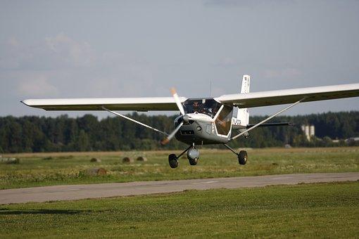 Ultralight, Landing, Plane, Aviation