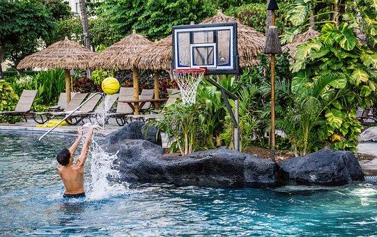 Person, People, Boy, Basketball, Pool, Resort, Playing