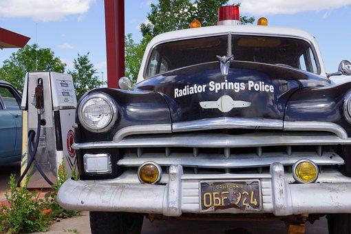 Radiator Springs, Usa, Police Car, American, Utah, Old