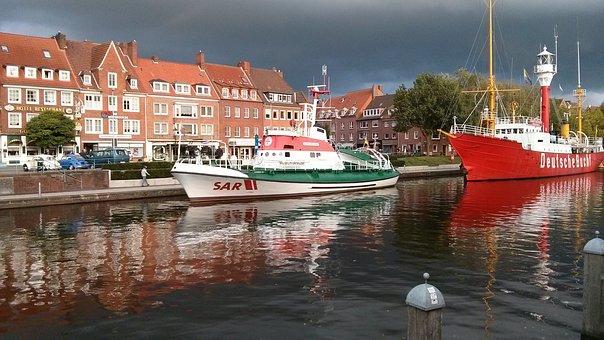 Ships, Distress Rescue, Lifeboat, Port, Emden