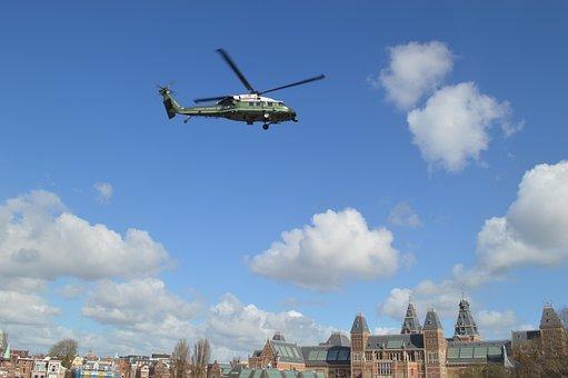 Helicopter, Obama, Amsterdam, Rijksmuseum