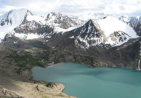 Ala Wheels, Kyrgyzstan, Mountains, Snow, Lake, Clouds