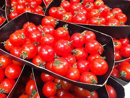 Mini Tomato, Orange, Red, Dish, Vivid, Vegetables