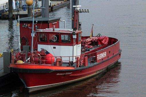 Fire, Boot, Ship, Lifeboat, Watercraft, Fireboat