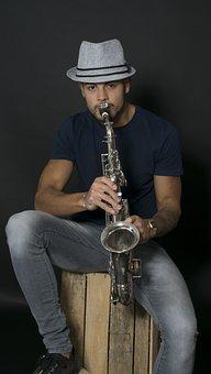 Musician, Saxophone, Model, Studio, Male, Adult, Young