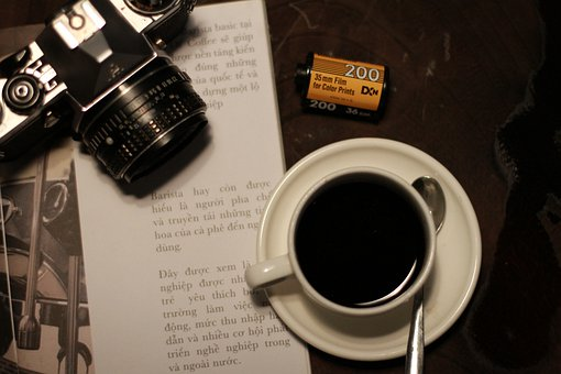 Camera, Film, Leans, Book, Coffee, Movies, Cup