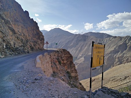 Mountains, Road, Trail, Rocks, Sign, Cliff, India