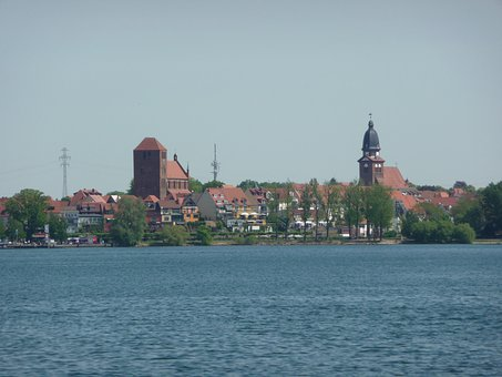 Lake, Buildings, City, Coast, Müritz Lake, Leisure