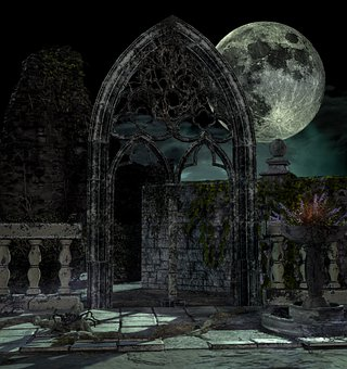 Gothic, Dark, Place, Moon, Mysterious, Fantasy
