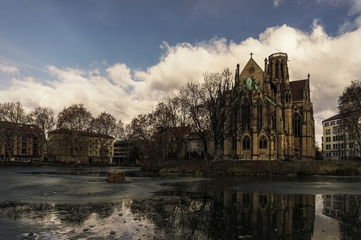Church, Lake, Water, Reflection, Building, Religion