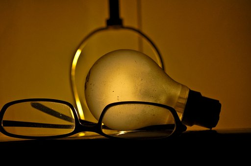 Lightbulb, Glasses, Bulb, Glowing, Illumination
