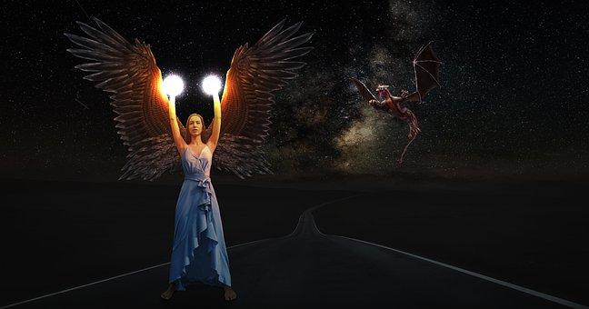 Angel, Woman, Fantasy, Dragon, Mythical, Mystical